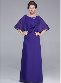 Sheath/Column Scoop Neck Floor-Length Chiffon Mother of the Bride Dress With Ruffle Beading Cascading Ruffles