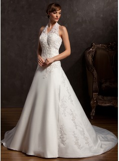A-Line/Princess Halter Chapel Train Satin Wedding Dress With Lace Beadwork Sequins