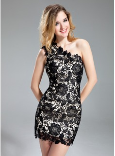 Sheath One-Shoulder Short/Mini Lace Cocktail Dress With Beading (016019148)