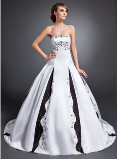 Ball-Gown Strapless Court Train Satin Wedding Dress With Embroidery