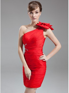 Sheath/Column One-Shoulder Short/Mini Chiffon Mother of the Bride Dress With Ruffle Beading