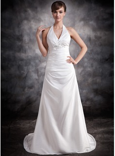 A-Line/Princess Halter Court Train Taffeta Wedding Dress With Ruffle Lace Beadwork