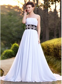 A-Line/Princess Strapless Chapel Train Chiffon Satin Wedding Dress With Sash Beading Sequins
