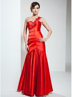 Mermaid One-Shoulder Floor-Length Charmeuse Evening Dress With Ruffle Lace Beading (017039554)
