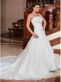 Ball-Gown Strapless Cathedral Train Organza Satin Wedding Dress With Ruffle Beadwork (002001262)