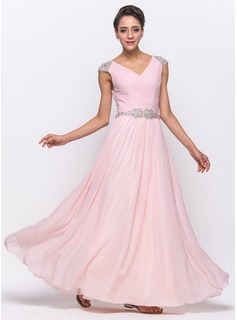 A-Line/Princess V-neck Floor-Length Chiffon Tulle Prom Dress With Ruffle Beading Sequins