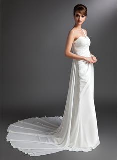 Sheath/Column One-Shoulder Watteau Train Chiffon Wedding Dress With Ruffle Beadwork (002012679)