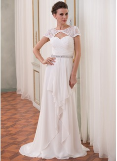 A-Line/Princess Scoop Neck Sweep Train Chiffon Lace Wedding Dress With Beading Cascading Ruffles