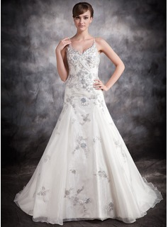 Ball-Gown V-neck Chapel Train Organza Satin Wedding Dress With Lace Sequins