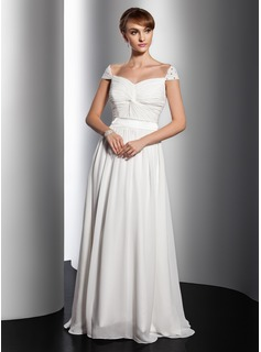 A-Line/Princess V-neck Floor-Length Chiffon Holiday Dress With Ruffle Beading (020014734)
