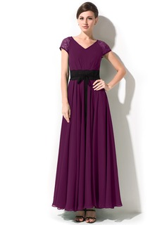 A-Line/Princess V-neck Ankle-Length Chiffon Lace Mother of the Bride Dress With Sash Bow(s)