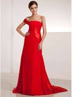 A-Line/Princess One-Shoulder Court Train Chiffon Charmeuse Evening Dress With Ruffle