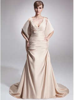 A-Line/Princess V-neck Court Train Satin Mother of the Bride Dress With Ruffle Lace