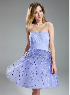 A-Line/Princess Sweetheart Knee-Length Chiffon Tulle Homecoming Dress With Sequins