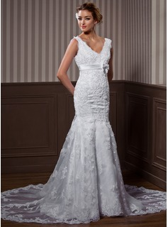 Mermaid V-neck Chapel Train Organza Satin Wedding Dress With Lace Beadwork