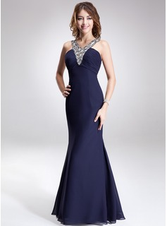 Mermaid V-neck Floor-Length Chiffon Evening Dress With Ruffle Beading