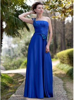 A-Line/Princess One-Shoulder Floor-Length Charmeuse Sequined Mother of the Bride Dress With Ruffle Beading