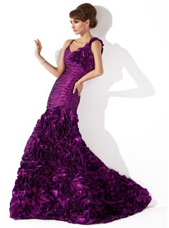Mermaid Scoop Neck Sweep Train Taffeta Evening Dress With Ruffle Flower(s)