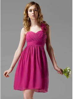 Empire One-Shoulder Knee-Length Chiffon Bridesmaid Dress With Ruffle Flower(s) (007004131)
