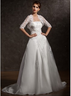 A-Line/Princess Strapless Court Train Satin Tulle Wedding Dress With Ruffle Lace Beading