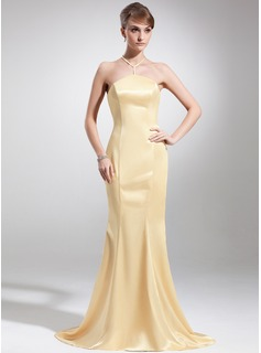 Mermaid Halter Sweep Train Charmeuse Mother of the Bride Dress