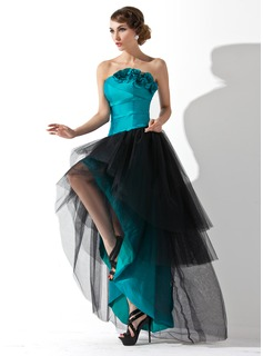A-Line/Princess Strapless Asymmetrical Taffeta Tulle Prom Dress With Ruffle Flower(s)