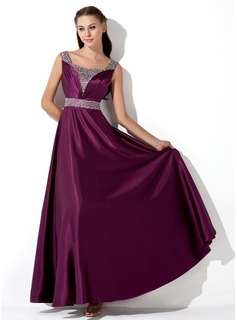 A-Line/Princess Square Necklin Ankle-Length Charmeuse Evening Dress With Ruffle Sequins (017013101)