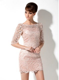 Sheath Scoop Neck Short/Mini Charmeuse Lace Mother of the Bride Dress