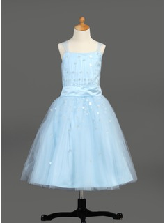 A-Line/Princess Tea-Length Satin Tulle Flower Girl Dress With Ruffle Sequins