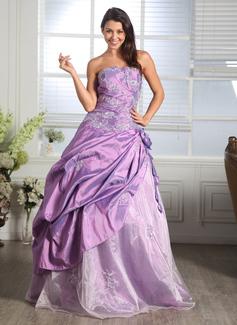 Corte de baile Escote corazón Hasta el suelo Tafetán Organdí Vestido de quinceañera con Volantes Bordado Los appliques Encaje Flores