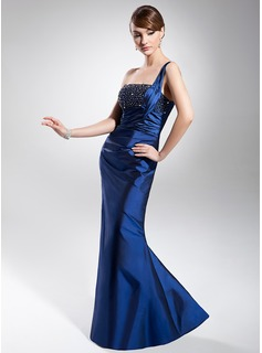 Mermaid One-Shoulder Floor-Length Taffeta Evening Dress With Ruffle Beading (017014681)