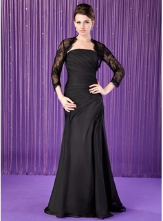 Mermaid Strapless Floor-Length Chiffon Mother of the Bride Dress With Ruffle