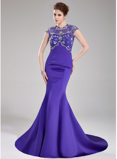Mermaid Scoop Neck Court Train Satin Tulle Prom Dress With Beading Sequins
