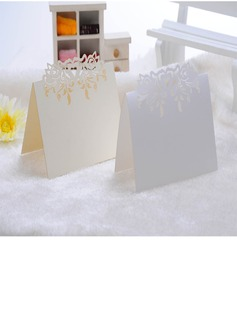 Heart Design Pearl Paper Place Cards (set of 12)