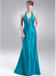 Mermaid Halter Sweep Train Taffeta Holiday Dress With Ruffle Beading