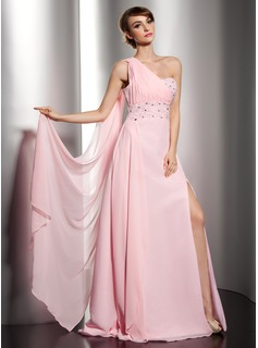 A-Line/Princess One-Shoulder Floor-Length Chiffon Holiday Dress With Ruffle Beading (020014544)