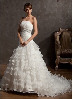 Ball-Gown Strapless Chapel Train Organza Wedding Dress With Beading Cascading Ruffles