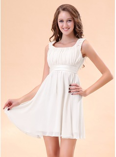 A-Line/Princess Scoop Neck Short/Mini Chiffon Charmeuse Homecoming Dress With Ruffle