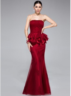 Trumpet/Mermaid Strapless Floor-Length Taffeta Tulle Evening Dress With Appliques Lace Cascading Ruffles