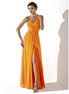 A-Line/Princess One-Shoulder Floor-Length Chiffon Holiday Dress With Ruffle Flower(s)