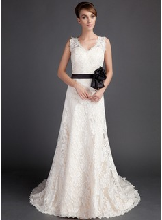 A-Line/Princess V-neck Court Train Satin Lace Wedding Dress With Sashes Beadwork Flower(s)