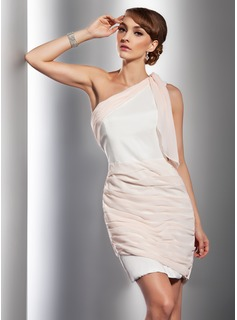 Sheath One-Shoulder Short/Mini Chiffon Satin Cocktail Dress With Ruffle