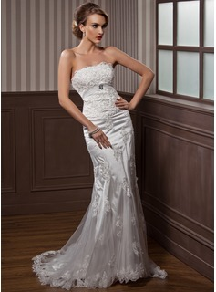 Mermaid Strapless Court Train Tulle Charmeuse Wedding Dress With Ruffle Lace Crystal Brooch (002012589)