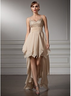 A-Line/Princess V-neck Asymmetrical Chiffon Satin Homecoming Dress With Beading Cascading Ruffles