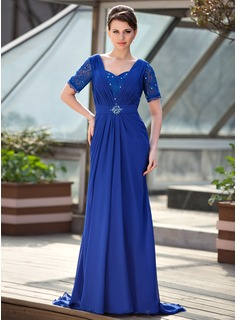 A-Line/Princess Sweetheart Sweep Train Chiffon Lace Mother of the Bride Dress With Ruffle Beading Sequins