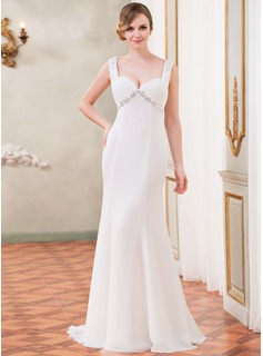 Trumpet/Mermaid Sweetheart Watteau Train Chiffon Wedding Dress With Ruffle Beading Appliques Lace Sequins