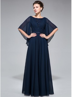 A-Line/Princess Scoop Neck Floor-Length Chiffon Charmeuse Mother of the Bride Dress With Ruffle Lace Beading Sequins