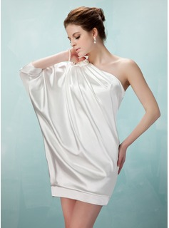 Sheath One-Shoulder Short/Mini Charmeuse Cocktail Dress With Ruffle Beading (016021260)