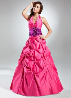 Corte de baile Cabestro Vestido Satén Con lentejuelas Vestido de quinceañera con Volantes Fajas
