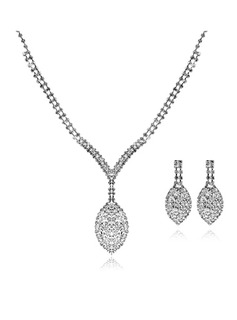 Shining Czech Rhinestones Alloy Plated Wedding Bridal Jewelry Set,Including Necklace And Earrings (011006983)